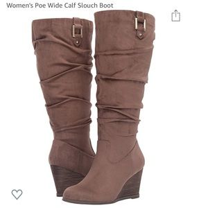 Dr. Scholls Poe Wide Calf Slouch Boot Stucco 6.5M